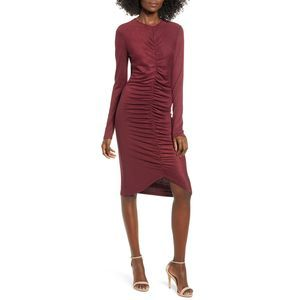 Leith Ruched Front Long Sleeve Knit Dress Tannin